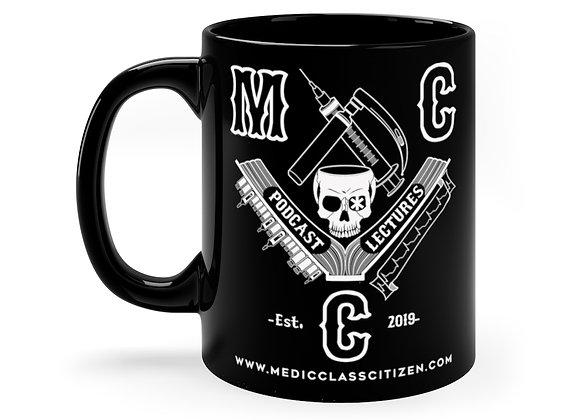 11 oz. MCC Coffee Cup, Full Logo (White on Black)