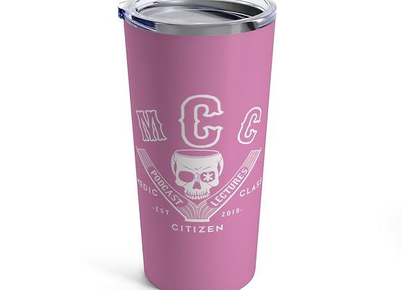 20 oz MCC Tumbler, Basic Logo (White on Pink)