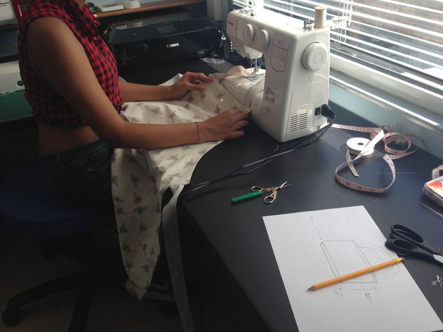 Age 12 Ashrya Sewing her Mum a Linen Apron