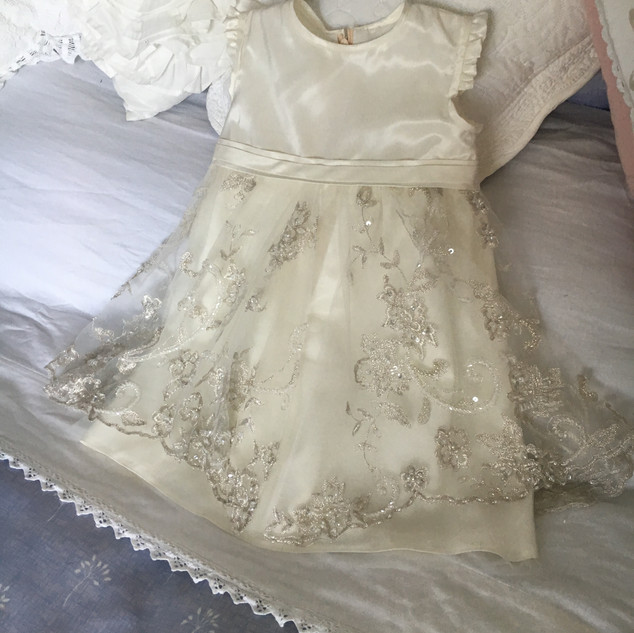 Ivory Christening gown with gold embroidery