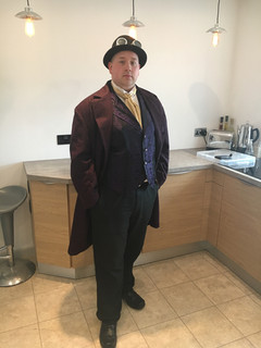 James in his Steampunk Frock Coat