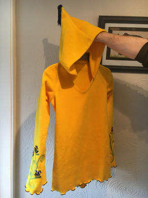 Yellow Fleece Sweatshirt with Needle Felt work