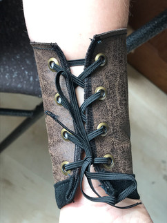 Antique Distressed Faux Leather Lace-up Braces (Gauntlets)