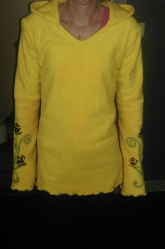 Yellow Fleece Sweatshirt with Needle Felt work