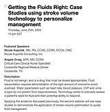 Getting the Fluids Right: Case Studies using stroke volume technology to personalize management