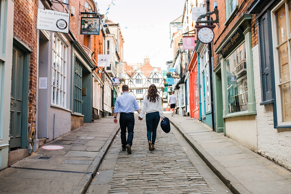 Lincoln Engagement Photoshoot steep hill