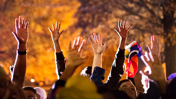 Hands Up protest in Ferguson. Photo credit: SBS News