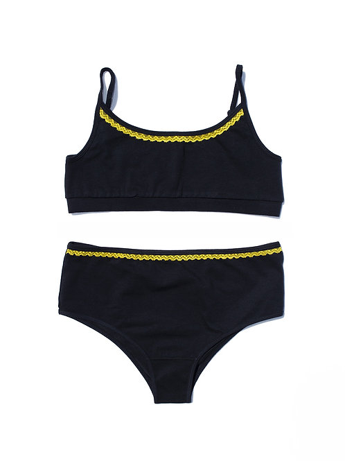 Crop Top and High Rise Navy Daffodil Set