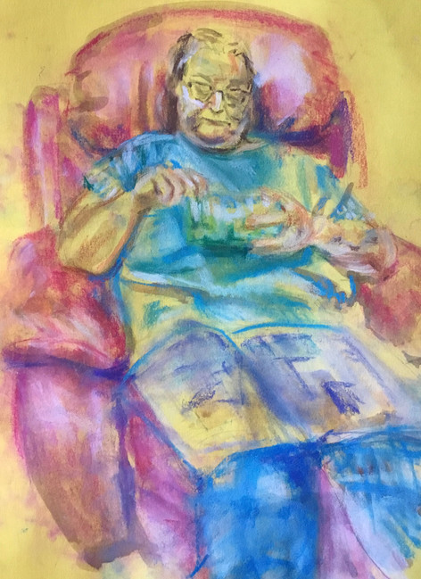 2020 Social Distancing Series: 'Eileen Eating Grapes (on Yellow)'