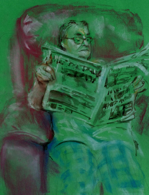 2020 Social Distancing Series: 'Eileen Reading the Paper (on Green)'