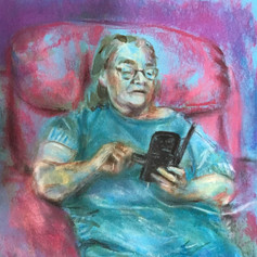 2020 Social Distancing Series: 'Eileen on Smartphone (On Blue)'