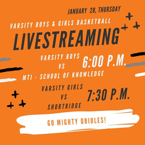 Thursday, January 28 - Boys and Girls Basketball Game - LIVESTREAMING