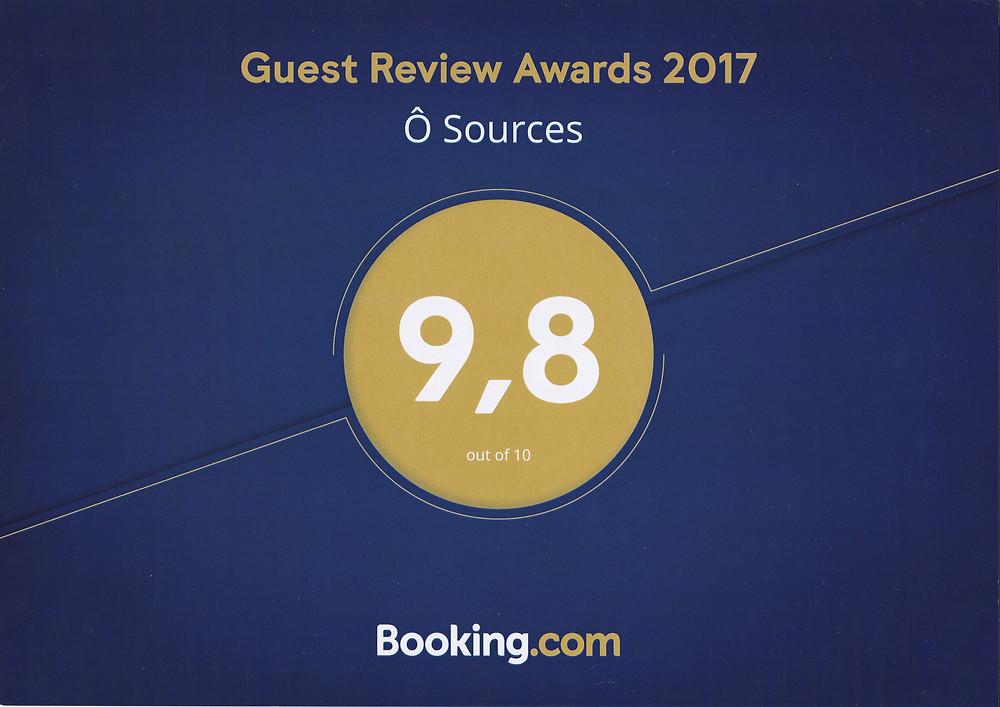 Ô Sources obtient un 9,8 / 10 auprès de Booking.com pour les qualités de ses prestations. Faisons toujours mieux.