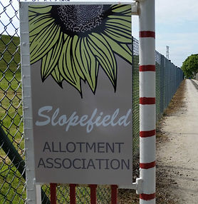 New front gate signage with our new Slopefield Allotments logo.