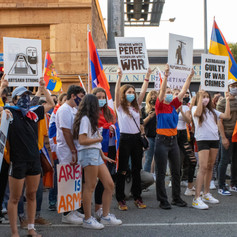 Thousands of Armenians and non-Armenians protest against Azerbaijan and Turkey military agression in the Republic of Naghorno- Karabakh in front of the Republic of Azerbaijan Los Angeles Consulate, in Los Angeles, Calif. on  Wednesday,September 30, 2020.