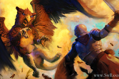 """Griffin Attack - 12""""x18"""" Limited Edition Giclee Art Print"""