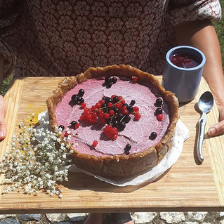 Retreat Eats; Vegan Mixed Berry & Lemon Turmeric Cheesecake