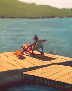 Woman & Dog on Dock