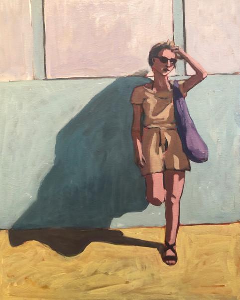 Woman agains Blue Wall