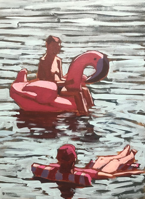 Man and Woman on Floats