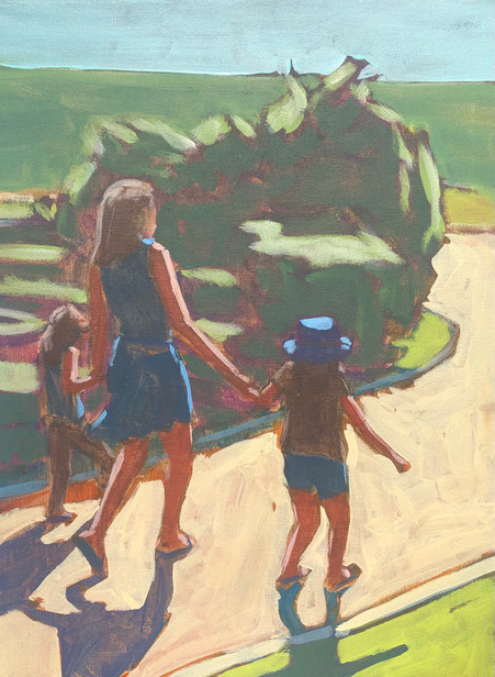 Woman and Children on Walk