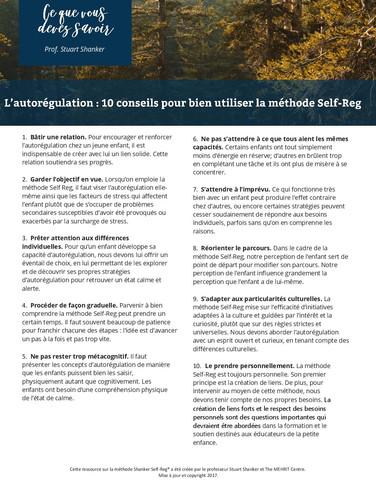 Infosheet: L'autorégulation - 10 conseils pour bien utiliser la méthode Self-Reg