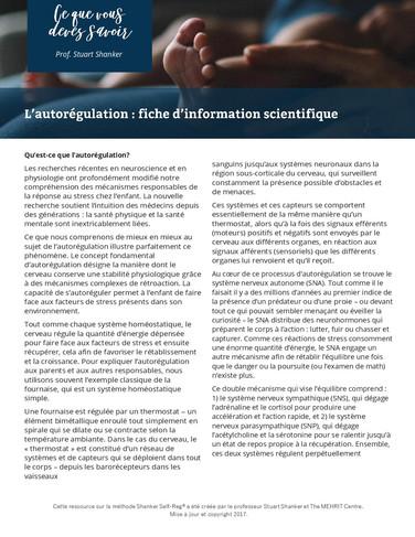 Infosheet: L'autorégulation - fiche d'information scientifique
