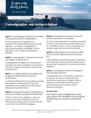 Infosheet: L'autorégulation - sept mythes à dissiper