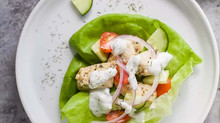Greek Chicken Lettuce Wraps with Tzatziki
