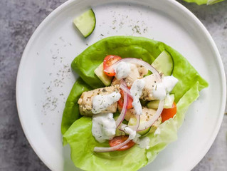 Greek Chicken Lettuce Wraps with Tzatziki