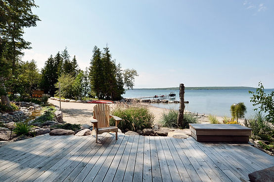 Georgian Bay beach and forest at waterfront luxury cottage rental The Great Lodge
