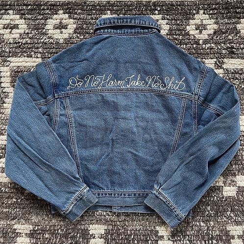 Do No Harm Take No Shit Oversize Crop Denim Jacket