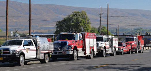 Firefighting crews from across the Gorge, and State, arrive to help fight the Mosier Creek Fire