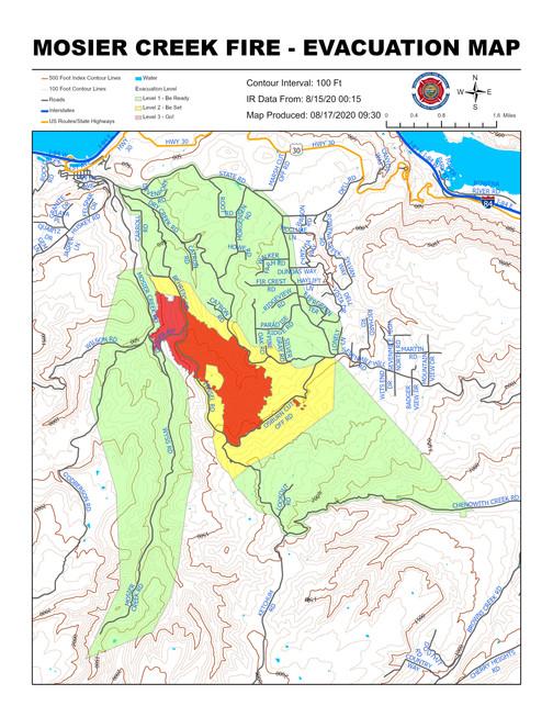 Mosier Creek Evacuation Map 081720 0930.
