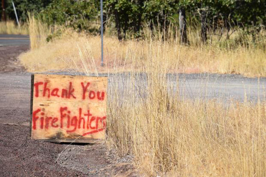 8-15-2020 Mosier Creek Fire Thank You Sign