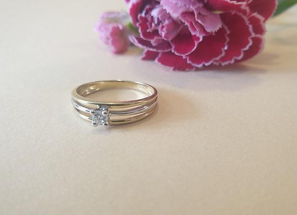 14krt bicolor gouden ring met briljant
