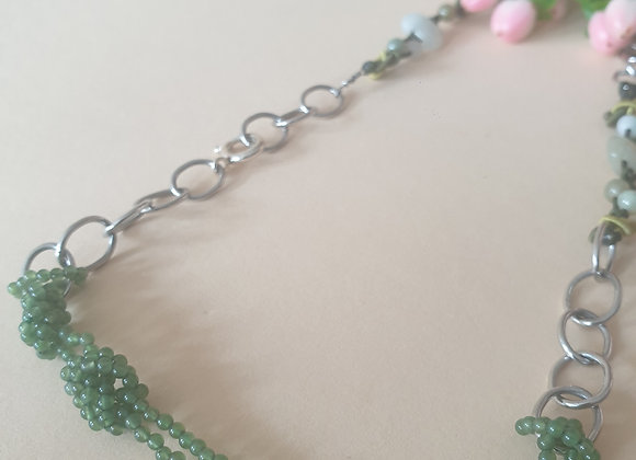 zilveren collier met groene accenten