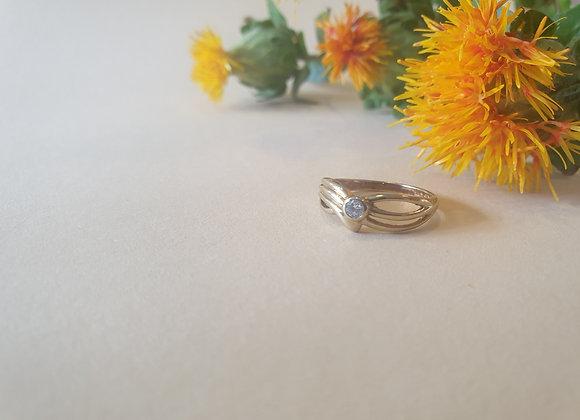 14krt geelgouden ring met zirkonia