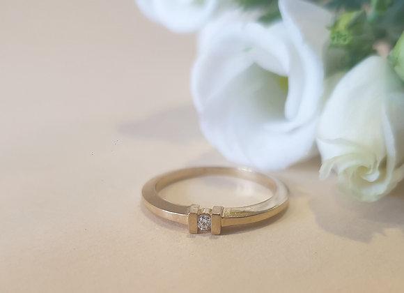 14krt geelgouden ring met briljant