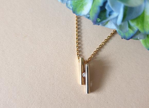 14krt bicolor gouden hanger met briljant