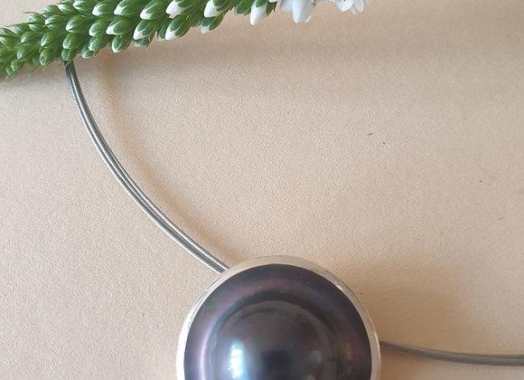 zilveren hanger met mabé parel