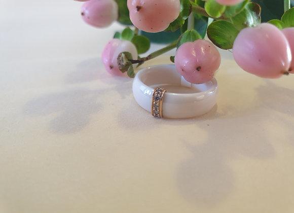Keramiek ring met roségoud en briljant