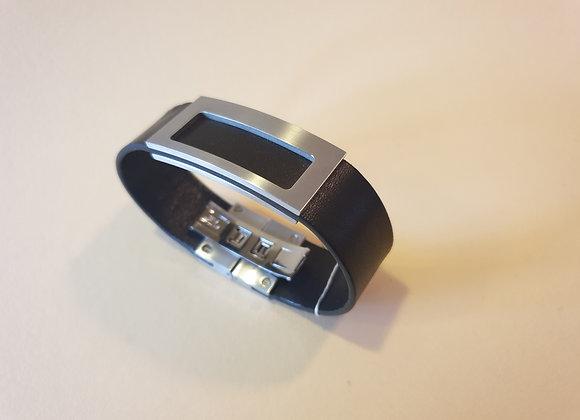 Stalen armband met zwart leer