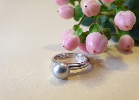14krt witgouden ring met parel