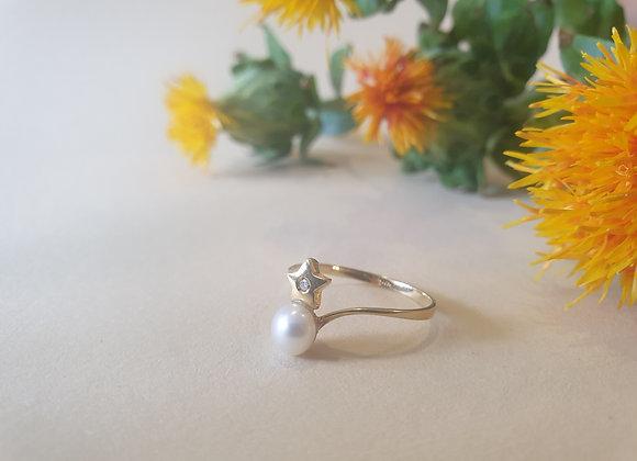 14krt geelgouden ring met parel en ster