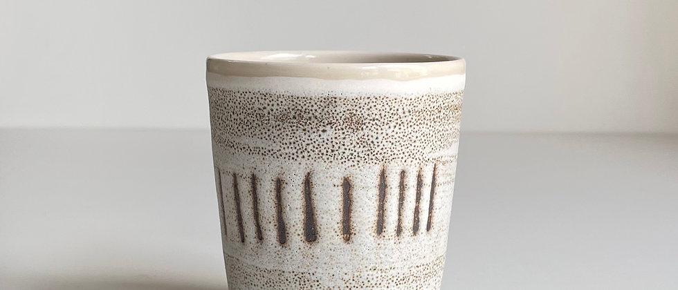 Beaker White With Lines - 260ml
