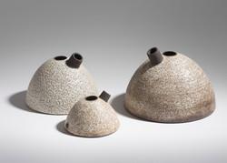Nests, Black Clay, Bubbly Glaze, 2017
