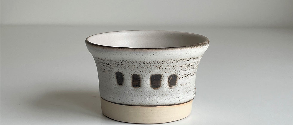 Bowl Small White With Dots