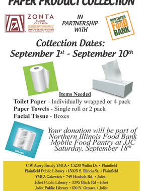 Paper Product Drive to Benefit NIFB 9/1 to 9/10