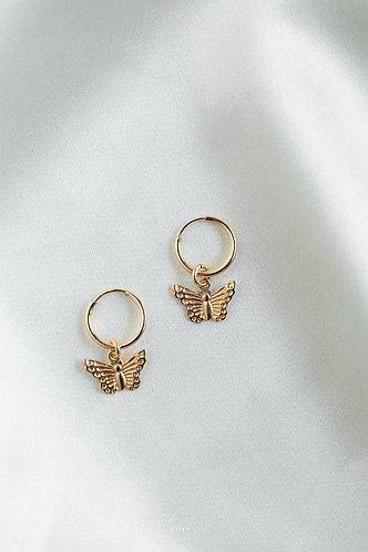 Deanna Butterfly Hoop Earrings